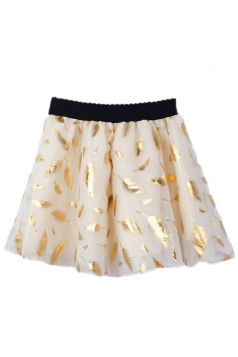 Gold Fancy Womens Sexy Mesh Leaves Pleated Skirt