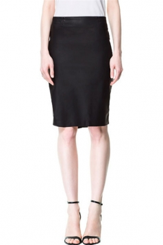 Black Sexy Ladies Classic Ruffle Plain Pencil Skirt