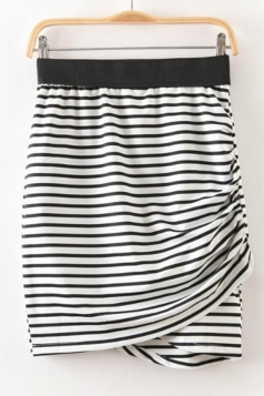 Black Pleated Classic Stripe Womens Sexy Mini Skirt