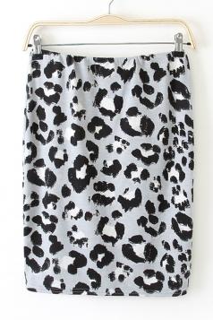 Gray Leopard High Waisted Slim Fancy Womens Pencil Skirt