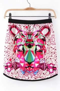 Rose Red Chic Womens Sexy Tiger Printed Mini Skirt