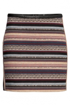 Black Womens Vintage Stripes Fancy Pencil Skirt