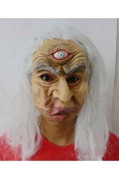 Beige Grim Three-eyed Old Man Latex Halloween Mask