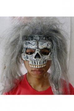 Gray Latex Scary Long Hair Skull Halloween Mask