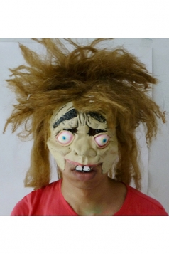 Horrible Yellow Hair Freak Latex Halloween Mask
