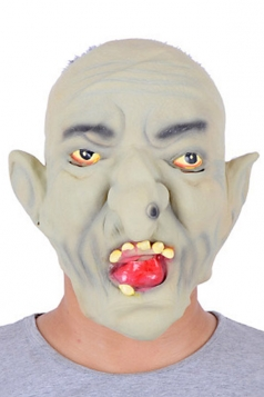 Gray Latex Horrific Wizard Halloween Mask