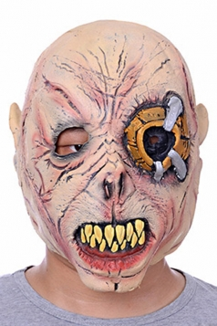 Pink Creepy One-eyed Demon Latex Halloween Mask