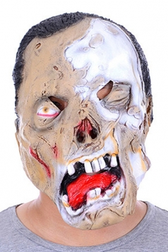 Beige Latex Horrible Skull Zombie Halloween Mask