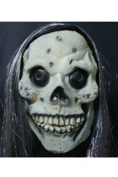 Gray Horrific Long Hair Skull Latex Halloween Mask