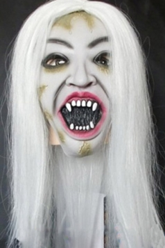 White Long Hair Creepy Female Ghost Latex Halloween Mask