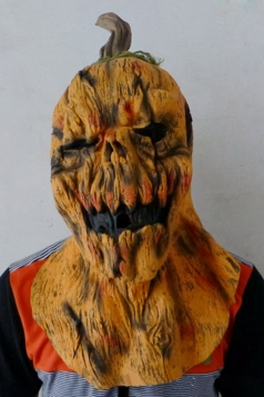 Orange Grim Pumpkin Latex Halloween Mask