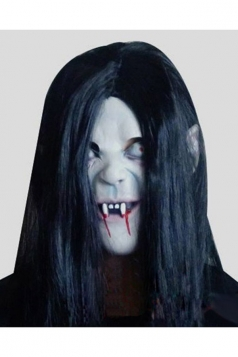 White Latex Scary Long Hair Zombie Halloween Mask