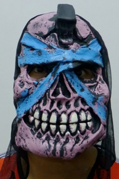 Blue Grim Skull Black Cloth Latex Halloween Mask