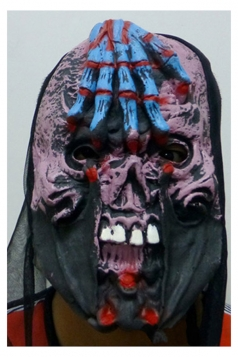 Blue Latex Scary Skull Black Cloth Halloween Mask