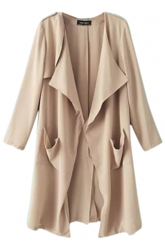 Khaki Womens Casual Wide Lapel Long Sleeves Trench Coat