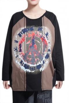 Black Loose Womens Abstract Printed Color Block Long Sleeves T-shirt
