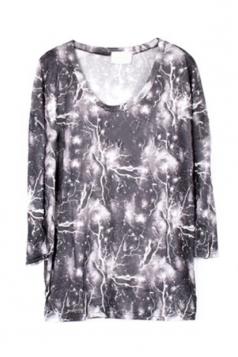 Gray Long Sleeves 3D Lightning Printed Ladies T Shirt