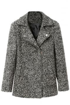 Grey Fashion Womens Warm Shoulder Pad Alpaca Winter Tweed Coat