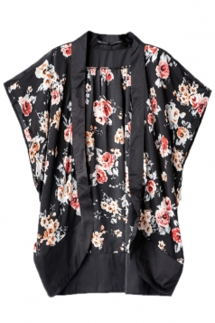 Black Ladies Sexy Retro Flowers Printed Kimono