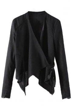 Black Trendy Womens Charming Irregular Design Blazer