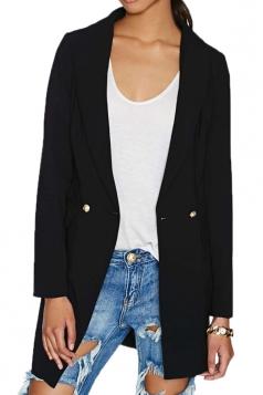 Black Cool Womens Office Lady Plain Pea Over Coat