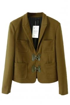 Green Cool Womens Plain Turndown Collar Suit Blazer