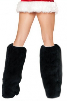 Black Furry Leg Warmers Santa Fur Boot Covers