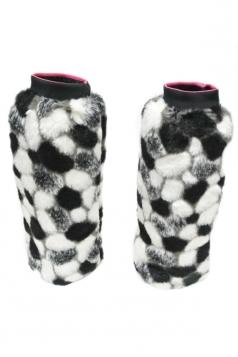 Black Ladies Trendy Spherical Pattern Fur Leg Warmers