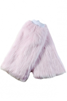 Pink Womens Charming Winter Fox Wool Faux Fur Leg Warmers