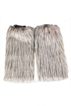 Khaki Womens Charming Peacock Feather Faux Fur Winter Leg Warmers