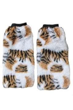 Yellow Trendy Ladies Snow Leopard Faux Fur Winter Leg Warmers