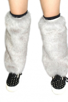 Gray Chic Womens Faux Fur Comfortable Leg Warmers