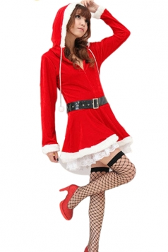 Red Pretty Ladies Christmas Long Sleeve Pleuche Hooded Santa Costume