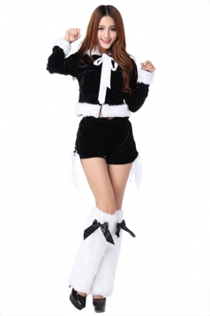 Black Pretty Ladies Christmas Party Long Sleeve Pleuche Cat Costume