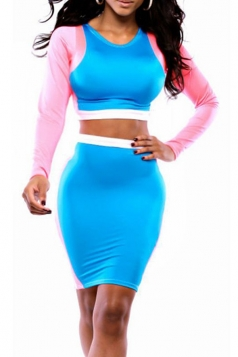 Blue Long Sleeves Fancy Color Block Sexy Womens Skirt Suit