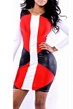 Red Long Sleeves Sexy Ladies Color Block Chic Bodycon Dress