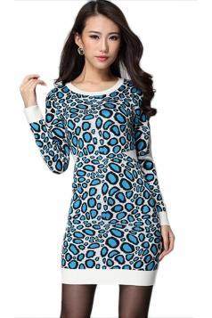 Blue Womens Slimming Leopard Patterned Long Sleeve Sweater Dress