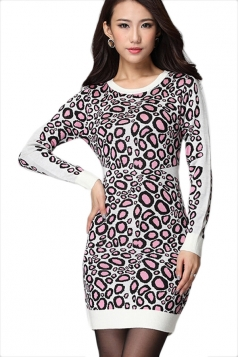 Pink Womens Slimming Leopard Patterned Long Sleeve Sweater Dress