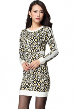 Yellow Womens Slimming Leopard Patterned Long Sleeve Sweater Dress