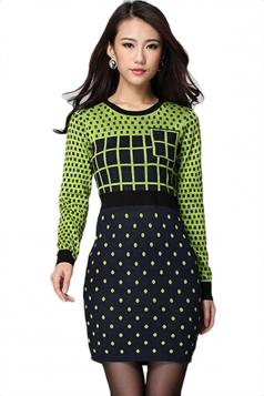 Green Sexy Womens Plaid Pattern Polka Dot Crew Neck Sweater Dress