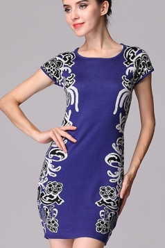 Blue Womens Floral Pattern Short Sleeve Vintage Sweater Dress