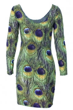 Green Elegant Womens Peacock Printed Long Sleeve Bodycon Dress
