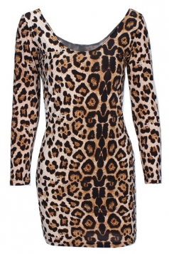 Brown Fashion Womens Leopard Printed Long Sleeve Bodycon Dress