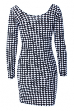 Black and White Sexy Womens Houndstooth Printed Bodycon Dress