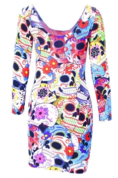 Black Punk Womens Colorful Skull Printed Crew Neck Bodycon Dress