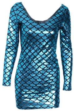 Blue Sexy Ladies Scale Printed Mermaid Liquid Bodycon Dress