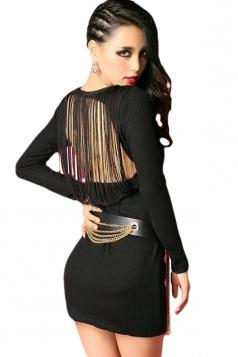 Black Cool Womens Knitting Long Sleeve Fringe Backless Sweater Dress