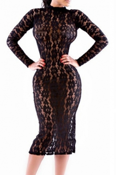 Black Lace See Through High Neck Long Sleeves Chic Clubwear Dress