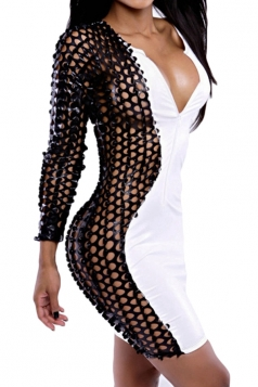 Black Zipper Sexy Hollow Out Scales Patchwork Clubwear Dress