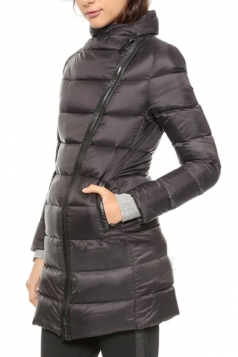 Black Chic Womens Winter Oblique Placket Warm Down Coat